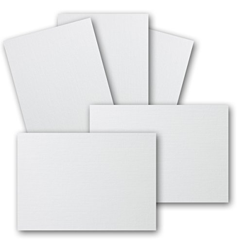 Tarjetas postales A6 – Color blanco – 105 x 148 mm – 250 g – Lino mate repujado, color Weiß - leinen 50 unidades